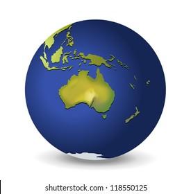 Illustration of the globe, Australia