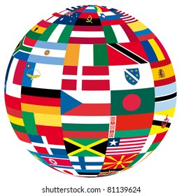 illustration of a globe filled with different flags