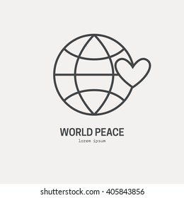 Illustration of a globe with heart - logo for non-profit organization, symbol for fundraising, donation or charity event. Vector line style icon.