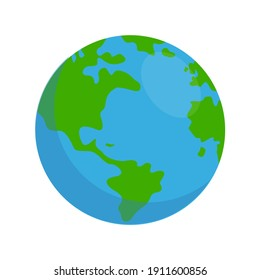 Illustration of the globe on a white background. Clip Art of planet earth in a simple cartoon style perfect for poster or website