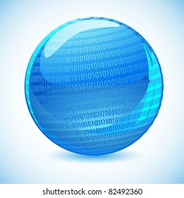 illustration of glossy binary globe on abstract background