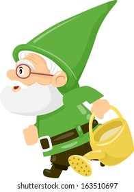 Illustration of a Gnome Carrying a Watering Can