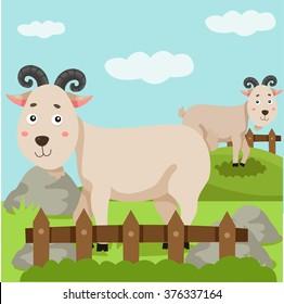 Illustration of goat and farm