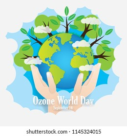 Illustration of Gobal warming.The Ozone help to protection against heat and sun rays.Everyone's hand can save the world from the greenhouse effect.Ozen world day.