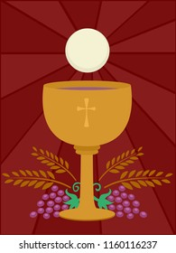Illustration of a Goblet with Wine and Eucharist Bread with Grapes and Wheat Below. Holy Communion