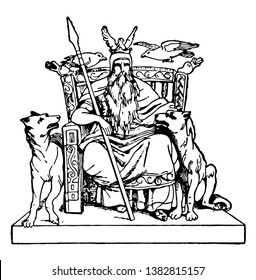 An illustration of the god of god known as Odin in Norse mythology. He is sitting on throne with his pets around him, vintage line drawing or engraving illustration.