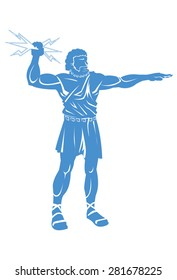 Illustration of the God Zeus holding lightening bolts./Zeus