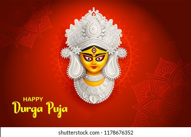 illustration of Goddess Durga Face in Happy Durga Puja Subh Navratri background