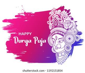 illustration of Goddess Durga Face in Happy Durga Puja Subh Navratri background