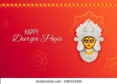 illustration of Goddess Durga Face in Happy Durga Puja Subh Navratri Indian religious header banner background