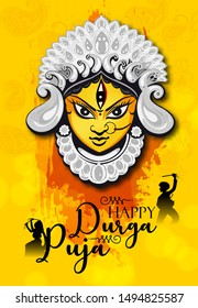 illustration of Goddess Durga Face in Happy Durga Puja Subh Navratri , India festival holiday with background,