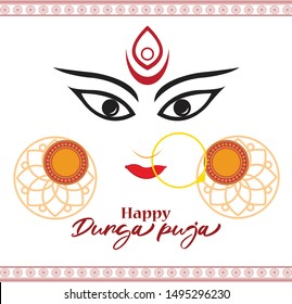 illustration of Goddess Durga Face in Happy Durga Puja Subh Navratri abstract background