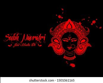 illustration of Goddess Durga Face in Happy Durga Puja Subh Navratri. Happy Navratri Celebration Poster Or Banner  dark Background