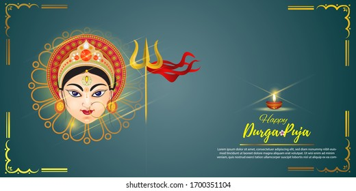 illustration of Goddess Durga Face in Happy Durga Puja Subh Navratri abstract background with text Durga puja means Durga Puja