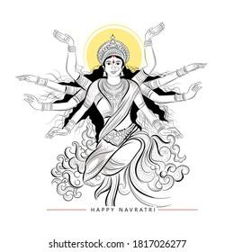 illustration of Goddess Durga Hand Drawn in Happy Durga Puja, Happy Navratri