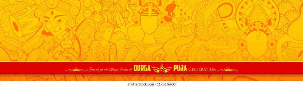 illustration of goddess Durga in Happy Dussehra Navratri background