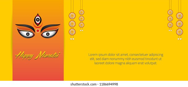 illustration of Goddess Durga in Happy Dussehra background Banner