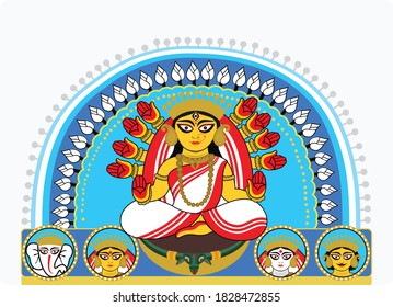 illustration of Goddess Durga in Happy Dussehra Navratri background with text in bangla Durga meaning Mother Durga