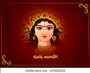 illustration of Goddess Durga for Happy Navratri Celebration Poster Or Banner Background