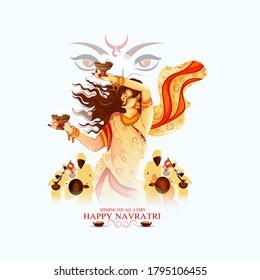 Illustration Of Goddess Durga In Happy Durga Puja, Subh Navratri Celebration