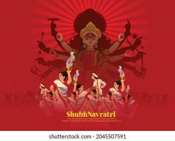 illustration of Goddess Durga in Happy Durga Puja Subh Navratri