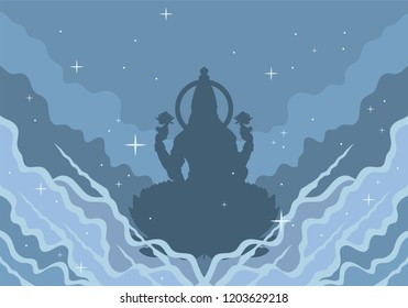 Illustration of goddess durga silhouette. Navaratri , is a nine nights (and ten days) Hindu festival, celebrated in the autumn every year.