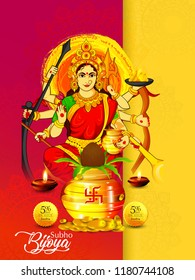 illustration of Goddess Durga in Subho Bijoya Indian Festival Navratri Happy Dussehra background