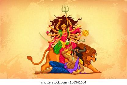 illustration of goddess Durga in Subho Bijoya (Happy Dussehra) background