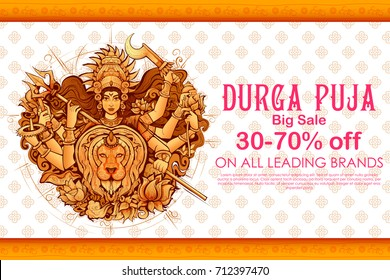illustration of Goddess Durga in Subho Bijoya (Happy Dussehra) Sale Offer background