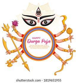 illustration of Goddess Durga ten hands in Happy Durga Puja Subh Navratri Indian religious header banner background