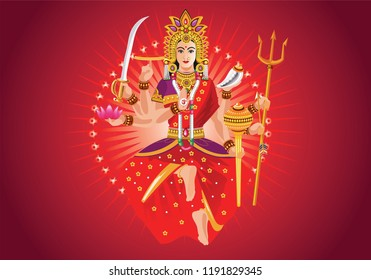 Illustration of goddess durga with text. Navaratri , is a nine nights (and ten days) Hindu festival, celebrated in the autumn every year.