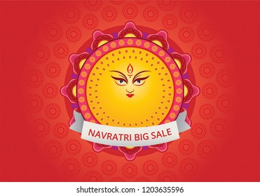 Illustration of goddess durga with text and sale poster template. Navaratri , is a nine nights (and ten days) Hindu festival, celebrated in the autumn every year.