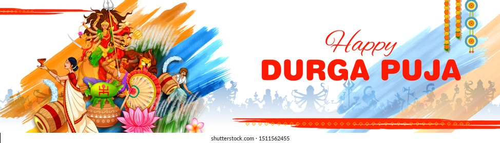 illustration of Goddess in Happy Durga Puja Subh Navratri Indian religious header banner background