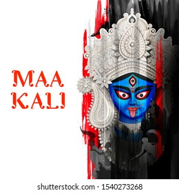illustration of Goddess Kali Maa on Diwali Kali Pooja background of India festival