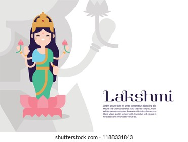 Illustration of goddess lakshimi with text lakshmi. Navaratri , is a nine nights (and ten days) Hindu festival, celebrated in the autumn every year.