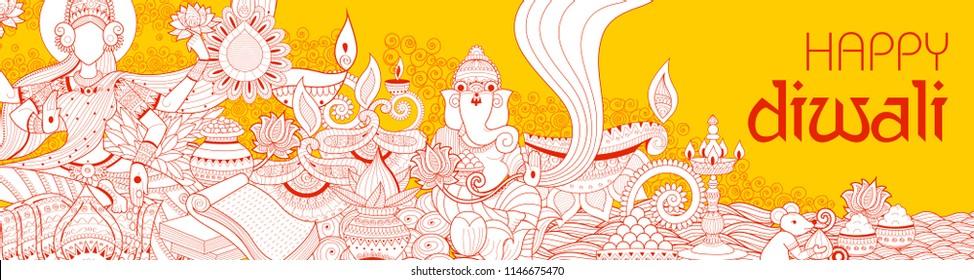 illustration of Goddess Lakshmi and Lord Ganesha on happy Diwali Holiday doodle background for light festival of India