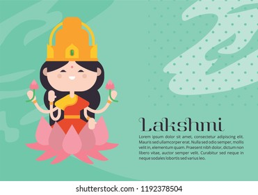 Illustration of goddess lakshmi with text lakshmi. Navaratri , is a nine nights (and ten days) Hindu festival, celebrated in the autumn every year.