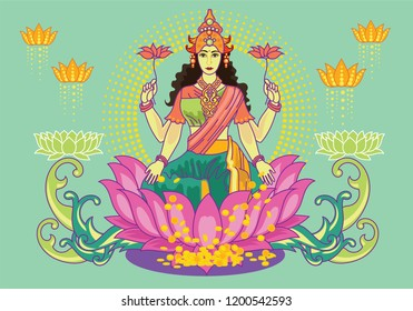 Illustration of goddess lakshmi with text. Navaratri , is a nine nights (and ten days) Hindu festival, celebrated in the autumn every year.