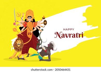 Illustration of Goddess Maa Durga killing mahishasur in Happy Dussehra Navratri background, Durga puja festival