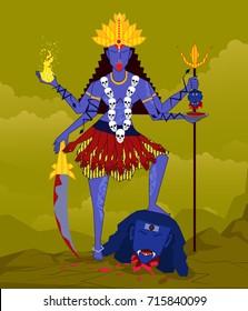 illustration of Goddess maa kali for Navaratri (Happy Dussehra)