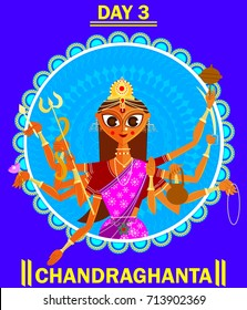 illustration of Goddess for Navaratri  and durga pooja with name and date(Happy Dussehra)