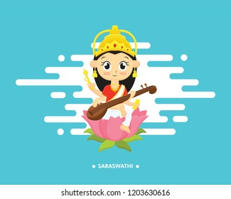 Illustration of goddess saraswati with text. Navaratri , is a nine nights (and ten days) Hindu festival, celebrated in the autumn every year.