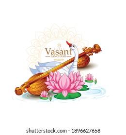 illustration of Goddess of Wisdom Saraswati for Vasant Panchami, Saraswati Puja, Basant Festival of Kites is a Sikh and Hindu festival