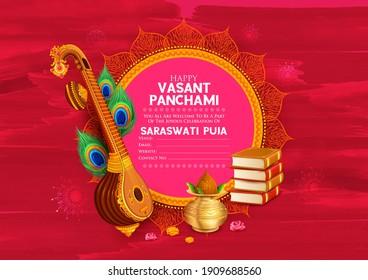 Illustration der Göttin der Weisheit Saraswati für den Vasant Panchami India Festival Hintergrund