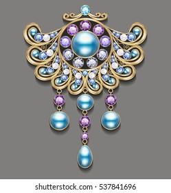 Illustration gold brooch with pearls and precious stones. Filigree victorian jewellery.