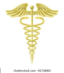 An illustration of a gold caduceus medical doctor's symbol