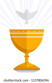 Illustration of a Gold Chalice and a White Dove Above It