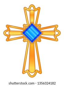 Illustration of the gold christian cross with blue jewel