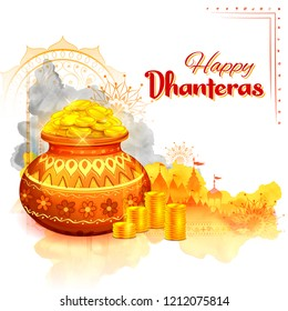 illustration of Gold coin in pot for Dhantera celebration on Happy Dussehra light festival of India background with hindi text meaning Happy Dhanteras