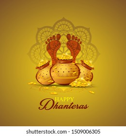 illustration of Gold coin in pot for Dhanteras celebration-Happy Dhanteras.